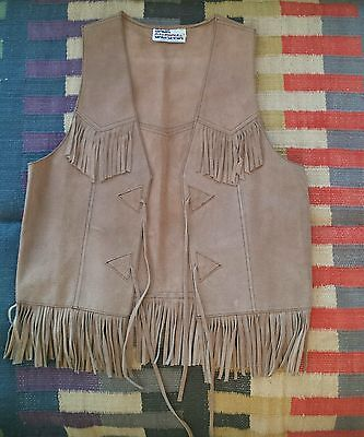 Vintage Tan Suede Fringe Vest Hippie Baja Men Women 60s 70s Festival Leather