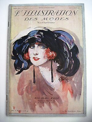 1921 French Women's Fashion Magazine w/ Beautiful Cover Picture & Fashions  *