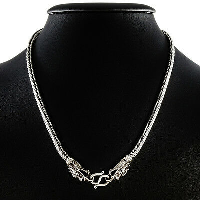 Men's 55Cm Real Sterling Silver Double Dragon Head Chain Necklace Solid 50Grm.