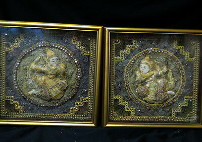 vintage pair framed Thailand / Burmese Kalage Tapestries / quilted & sequined