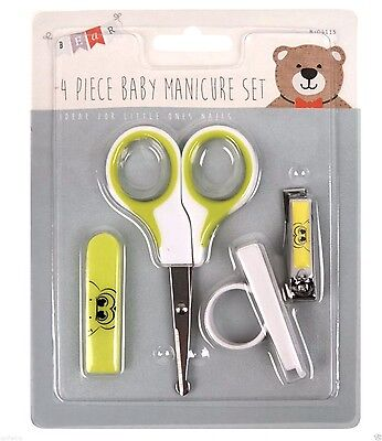 4 Piece Baby New Born First Year Hair Nail Clippers Grooming Manicure Set Green