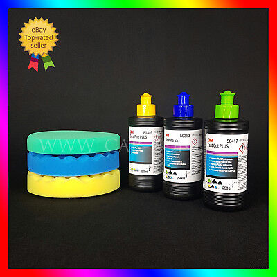 3M Perfect it: Fast Cut Plus + Extra Fine + Ultrafina + 3x 3M polishing pads 6""