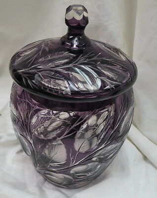 vintage Moser cut glass cracker / tobacco jar & lid / rare purple cut to clear