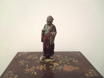 19th century Chinese Flambe Sang De Boeuf Glazed Shiwan pottery sage figure