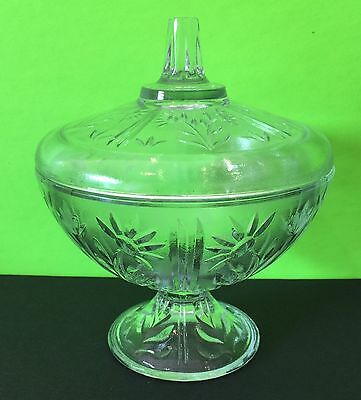 Vintage Crystal Pedestal Covered Candy Dish Floral Design Pattern Collectible