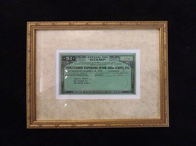 NEWLY FRAMED 1948 Special Tax Stamp Doctor Dispensing Opium, Coca Leaves