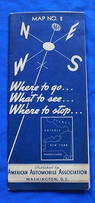 Vintage 1937 AAA Map of PA NY Ontario, Coca Cola Ad, Where to Go, What to See