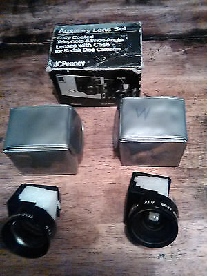 Auxiliary Lens Set JC PENNY TELEPHOTO & WIDE-ANGLE LENS WITH CASE KODAK DISK