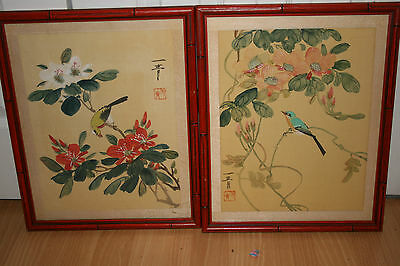 Pair Oriental Hand Painted on Silk Birds & Flowers Bamboo Frames Japanese Signed