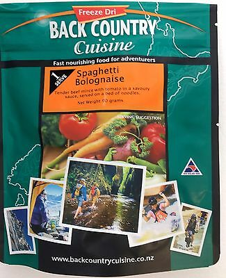 NEW Camping Food Back Country Cuisine Spaghetti Bolognaise 90 GMS