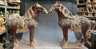 "15"" Old Chinese Tang Sancai Pottery Running Horse Horses Succeed Statue Pair"