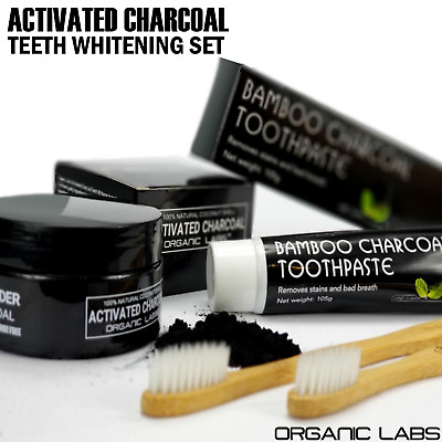 Activated Charcoal Teeth Whitening Bamboo Toothpaste Toothbrushes