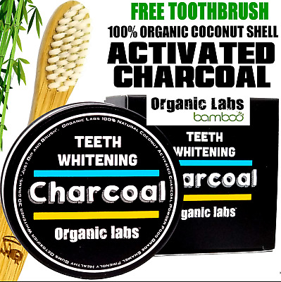 Organic Activated Charcoal Coconut Teeth Whitening Powder And Bamboo Toothbrush