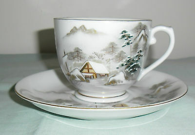 Vintage Kutani Tea Cup & Saucer  : Mountain Lakeside Scene