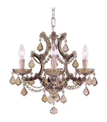 Crystorama 4474-AB-GTS Maria theresa Mini Chandeliers 17in Antique Brass Glass