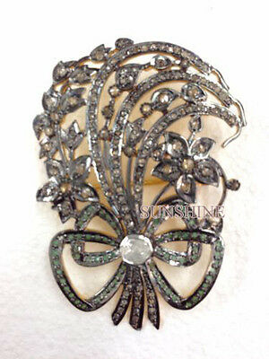 Victorian 2.80cts Pave Rose Cut Diamond Jewelry .925 Sterling Silver  Brooch