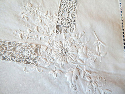Vintage French Pillow Case Euro Sham in Linen with Exceptional Hand Embroidery