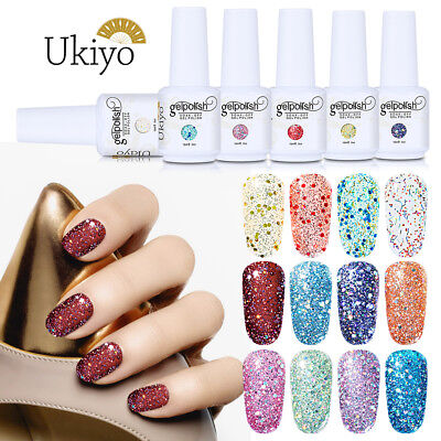 Ukiyo 15ml Diamond Glitter Soak-off Gel Polish UV No Wipe Top Base Coat Primer