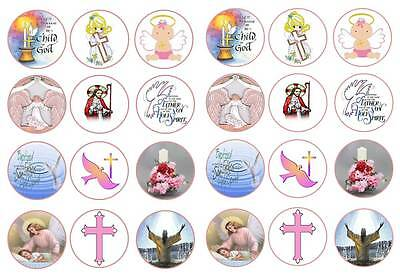 BAPTISM CUP CAKE TOPPERS ON RICE PAPER X24 BABY BOYS FOOTPRINT CHRISTENING