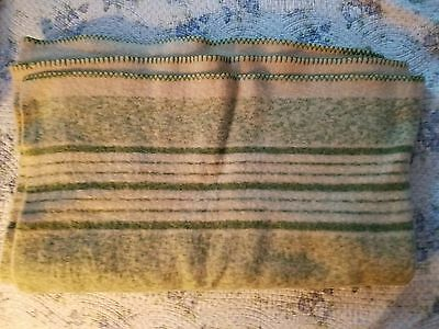 Vintage thick wool trapper blanket cream and green single twin bed size