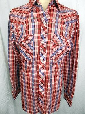 Vintage 70s Red Blue Plaid Poly/Cotton Cavalry Club Western Shirt Pearl Snaps M