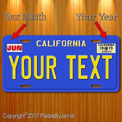 Blue California Your Text Month Year Aluminum Vanity License Plate Tag New