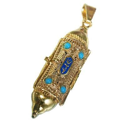 14k Yellow Gold Mezuzah Jewish Necklace Torah Turquoise Stones with Scroll 35mm