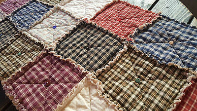 Homespun Plaid Table Runner Sampler with Buttons, Multiple Sizes, Handmade in NJ