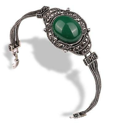 Antique Style Silver Green Stone and crystal Bracelet #B09