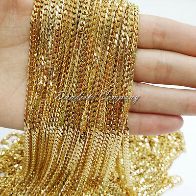 5/10/20 Meters Wholesale 5mm 18K Gold Plated Stainless Steel Chain Mens Necklace