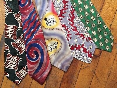 VTG 1940's Set/Lot Of 5 Wide Silk & Rayon Ties Novelty Prints Hand Painted