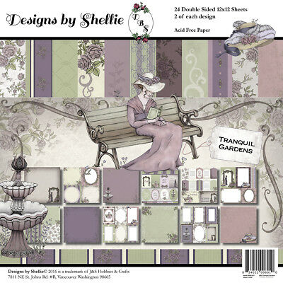 """J & S Hobbies And Crafts Designs By Shellie Cardstock 12""""X12"""" 24/Pkg-Tranquil Ga"""