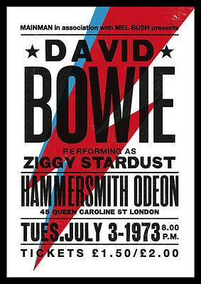 David Bowie Repro Tour POSTER 1973 Ziggy Stardust Hammersmith
