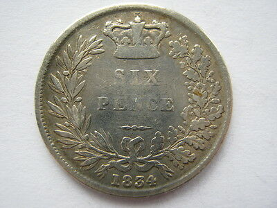 1834 Sixpence GF polished