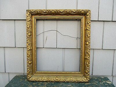 Antique 19thC Gold Painted Gesso Wood Picture Frame fits 11 x 13