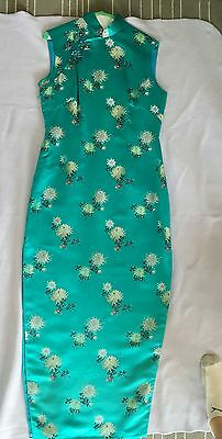 Chinese Asian Oriental Style Women's Fitted Gree Dress  vtg 1993 Sz M Sleeveless