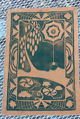 Vintage Mission Arts & Crafts  Stencil Velvet Spider & Web Wall Hanging Cover