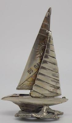 Vintage Solid Silver BIG Sailboat Miniature - Stamped - Made in Italy