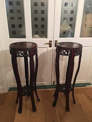 Pair Unusual Chinese Hardwood Jardinière Stands Carved Asian Vase Beautiful