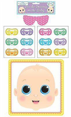 New Baby Shower Game 'Pin the Dummy on the Baby' Girl or Boy Pacifier Fun Party