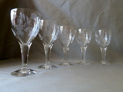 5 vintage etched wine glasses, not signed Bohemia VGC
