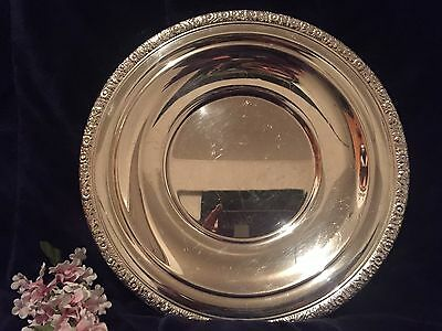 Vintage Gorham Silverplate Serving Plate YC961 W/Floral Motif Edging 10 1/2""