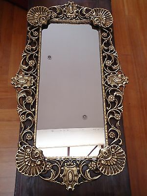 Antique Vintage Mirror Cast Brass Alloy With Seashells Large 3 Feet!!