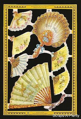 """Mamelok English Die Cut Scrap - """"Ever Thine"""" Flowered Fans   (Out of Print)  A70"""