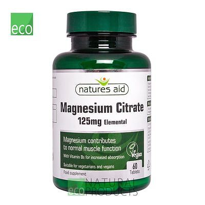 Natures Aid - Magnesium Citrate 125mg - 60 Tablets Vegan