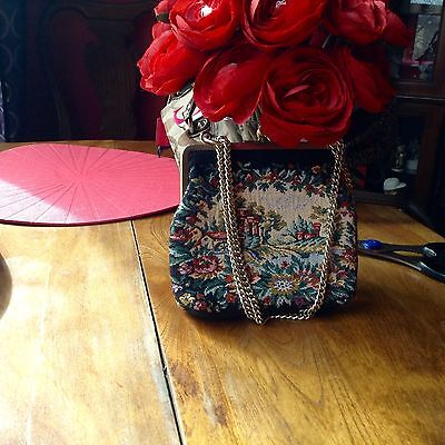 Small vintage tapestry bag