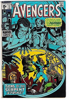 AVENGERS #73 (VG+) Sons of the Serpent Appearance! Vintage Silver-Age Issue!