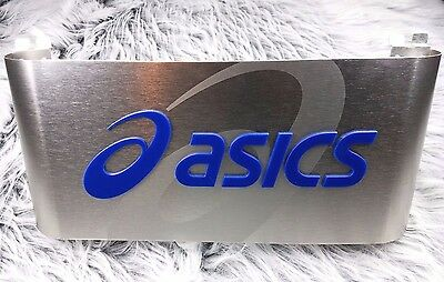Asics Athletic Shoes Brushed Metal Store Advertising Sign 20 by 9.75 inch
