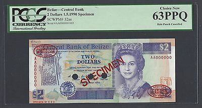 Belize 2 Dollars 1-5-1990 P52as Specimen TDLR N002 Uncirculated