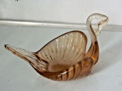 Estate Gorgeous Italian Smoked Art Glass Swan Decorative Ornament